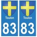83 Toulon autocollant plaque immatriculation ville