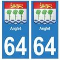 64 Anglet ville autocollant plaque
