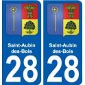 28 Saint-Aubin-des-Bois blason autocollant plaque stickers ville