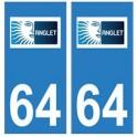 64 Anglet autocollant logo plaque immatriculation ville