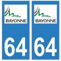 64 Bayonne logo autocollant plaque immatriculation ville