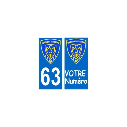 autocollant plaque immatriculation blason d partement 63 asm clermont rugby sticker. Black Bedroom Furniture Sets. Home Design Ideas