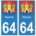 64 Bayonne autocollant plaque immatriculation ville
