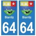 64 Biarritz autocollant plaque immatriculation ville