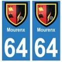 64 Mourenx autocollant plaque immatriculation ville