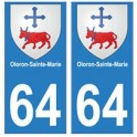 64 Oloron-Sainte-Marie autocollant plaque immatriculation ville