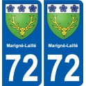 72 Marigné-Laillé coat of arms sticker plate stickers city