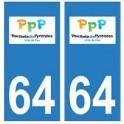 64 Pau logo autocollant plaque immatriculation ville