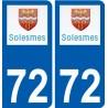 72 Solesmes logo autocollant plaque stickers ville