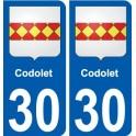 30 Codolet blason autocollant plaque stickers ville
