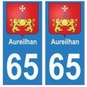 65 Aureilhan ville autocollant plaque