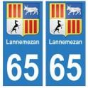65 Lannemezan ville autocollant plaque