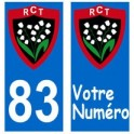 83 RCT toulon rugby sticker plate sticker