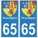 65 Vic-en-bigorre ville autocollant plaque