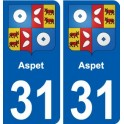 31 Aspet coat of arms sticker plate stickers city