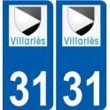 31 Villariès logo sticker plate stickers city