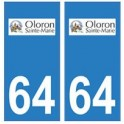 64 Oloron-Sainte-Marie logo autocollant plaque immatriculation ville
