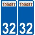 32 Touget logo sticker plate stickers city