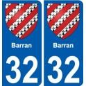 32 Barran blason autocollant plaque stickers ville