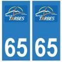 65 Tarbes logo ville autocollant plaque