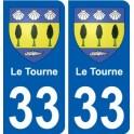 33 Le Tourne blason autocollant plaque stickers ville