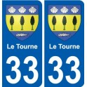 33 Le Tourne coat of arms sticker plate stickers city