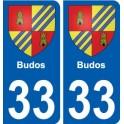 33 Penmarch escudo de armas de la etiqueta engomada de la placa de pegatinas de la ciudad