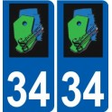 34 Saturargues logo sticker plate stickers city