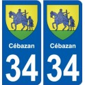 34 Cébazan coat of arms sticker plate stickers city