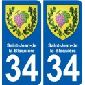 34 Saint-Jean-de-la-Blaquière coat of arms sticker plate stickers city