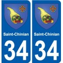 34 Saint-Chinian blason autocollant plaque stickers ville