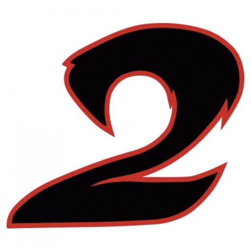 autocollant stickers chiffre 2 deux noir rouge moto. Black Bedroom Furniture Sets. Home Design Ideas
