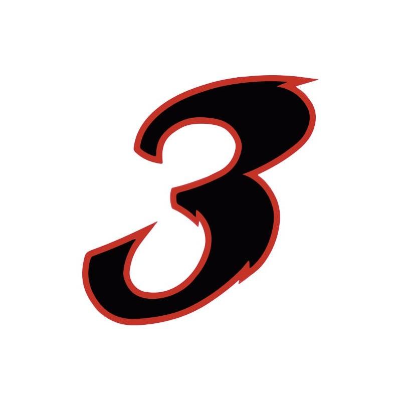 autocollant stickers chiffre 3 trois noir rouge moto. Black Bedroom Furniture Sets. Home Design Ideas