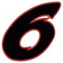 Chiffre 6 six - autocollant sticker noir/rouge voiture moto