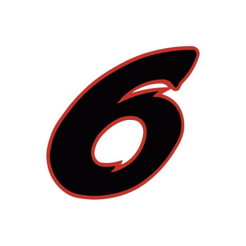 autocollant stickers chiffre 6 six noir rouge moto voiture. Black Bedroom Furniture Sets. Home Design Ideas