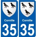 35 Cornille coat of arms sticker plate stickers city