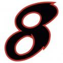 Chiffre 8 huit - autocollant sticker noir/rouge voiture moto