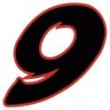 Chiffre 9 neuf - autocollant sticker noir/rouge voiture moto