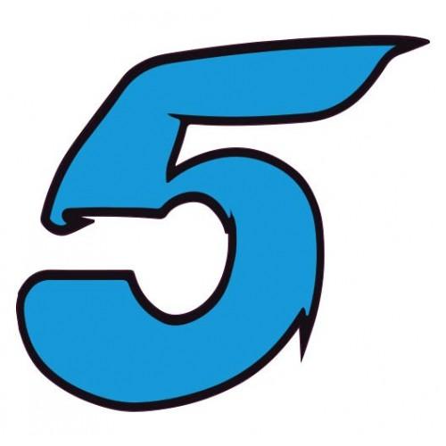 autocollant stickers chiffre 5 cinq bleu moto voiture adhesif. Black Bedroom Furniture Sets. Home Design Ideas