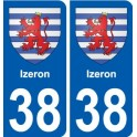 38 Izeron coat of arms sticker plate stickers city