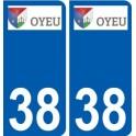 38 Oyeu logo autocollant plaque stickers ville