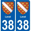 38 Laval coat of arms sticker plate stickers city