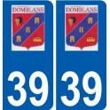 39 Domblans logo autocollant plaque stickers ville