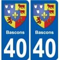 40 Bascons blason autocollant plaque stickers ville