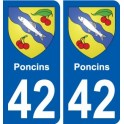 42 Poncins coat of arms sticker plate stickers city