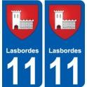 11 Lasbordes blason autocollant plaque stickers ville