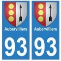 93 Aubervilliers blason autocollant plaque stickers ville