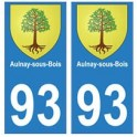 93 Aulnay-sous-bois blason autocollant plaque stickers ville
