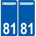 81 Monestiés logo autocollant plaque stickers ville