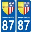 87 Bonnac-la-Côte coat of arms sticker plate stickers city